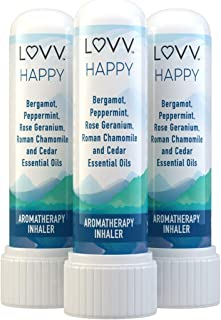 HAPPY Portable Aromatherapy Nasal Inhaler - Cheerful Blend of Roman Chamomile, Peppermint, Bergamot, Rose Geranium, Cedar Wood - Personal Pocket Essential Oil Diffuser - Set of 3