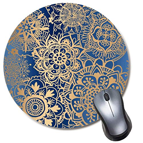 Round Gaming Mouse Pad Rose Gold Mandala Mousepad for Computer,Funny Gift Non-Slip Mouse Mat