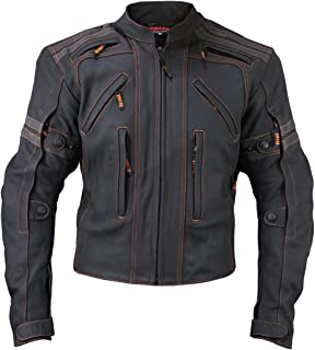 Vulcan Men`s VTZ 910 `Street` Motorcycle Matte Black Leather Jacket - 3X-Large