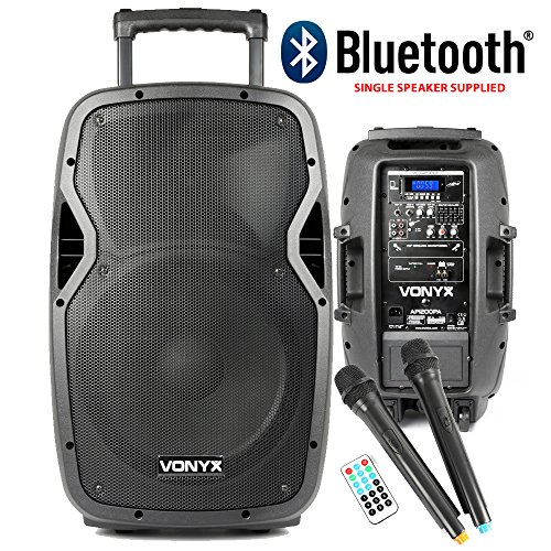VONYX Bluetooth DJ Speaker with UHF Wireless Microphones Battery Powered...