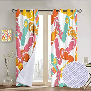 vanfanhome Summer Holiday Sandals Curtain Panels, Printing Curtains Microfiber 3 Layers High Density & Noise Reduction Fabric, Living Room Bedroom Window Drapes(2 Panels, 54x84 Inch)
