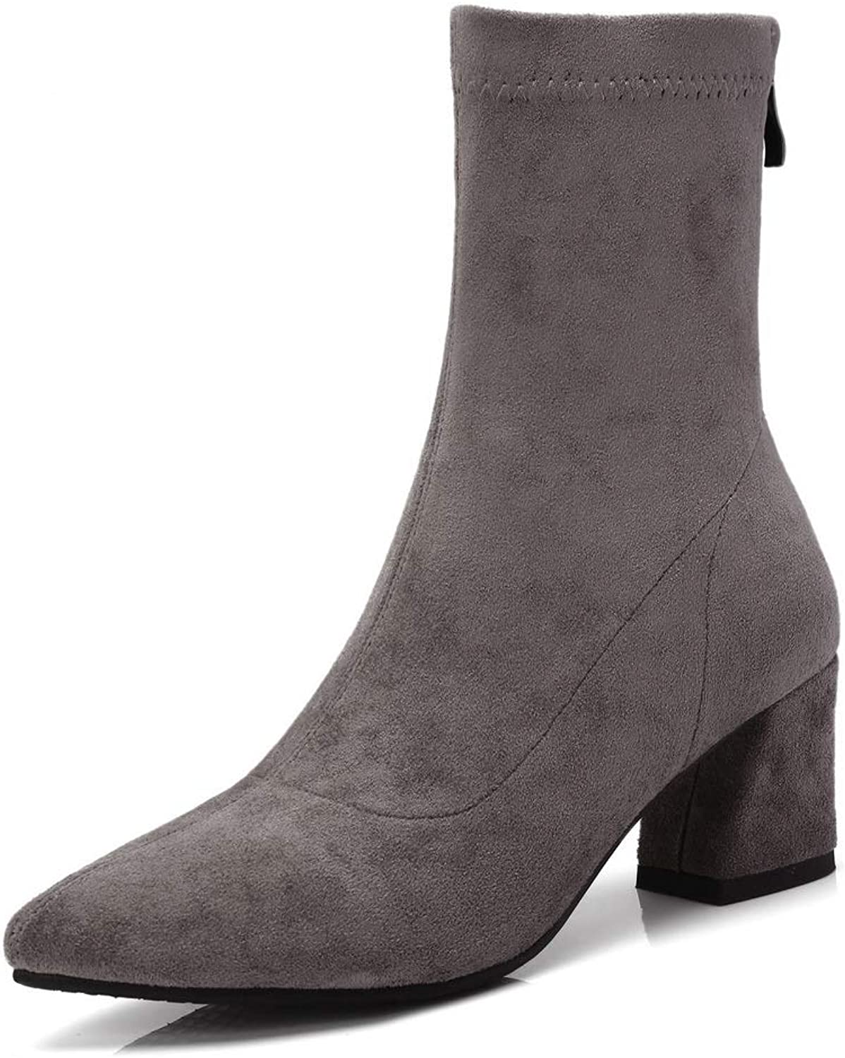 AdeeSu Womens Square Heels Chunky Heels Pointed-Toe Imitated Suede Boots SXE04186