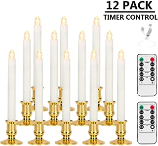 Window Candles, MAOYUE 12 Pack LED Candles with Timer Christmas Flameless Candles Battery Operated Flickering Candles with 2 Remote Controls, Gold Candle Holders, Suction Cups