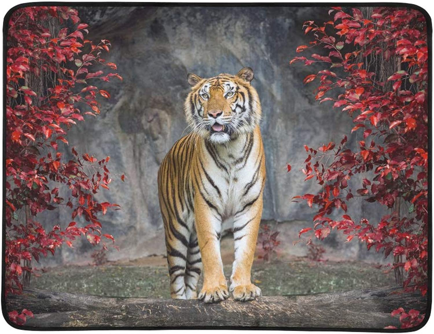 Wild Portrait Tiger in The Autumn Jungle Pattern Portable and Foldable Blanket Mat 60x78 Inch Handy Mat for Camping Picnic Beach Indoor Outdoor Travel