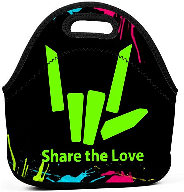 GOBbkbaA Share The Love Portable Bento Insulated Lunch Bags Boxes Case Tote Multifunction Handbag Food Storage