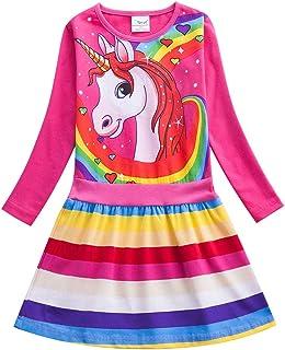JUXINSU Girl Long Sleeve Dresses Cotton Rainbow Stripe Cartoon Pony Casual for 2-7 Years