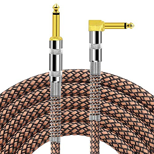 DISINO Guitar Cable,Right Angle 1/4 Inch TS to Straight 1/4 Inch TS Audio Instrument Cable Bass AMP Cord for Electric Guitar, Bass, Pro Audio - 10 Feet,Brown