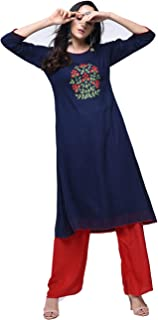Zoeyams Womens Navy Blue Rayon Aari Embroidery Long Anarkali Kurta With Rayon Palazzo