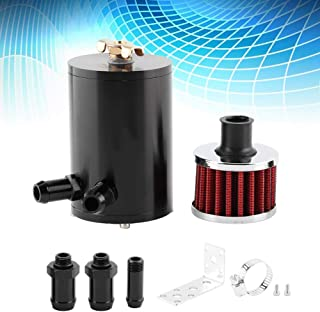 Qiilu 0.5L Universal Aluminum Oil Tank Catch Can with Breather Filter