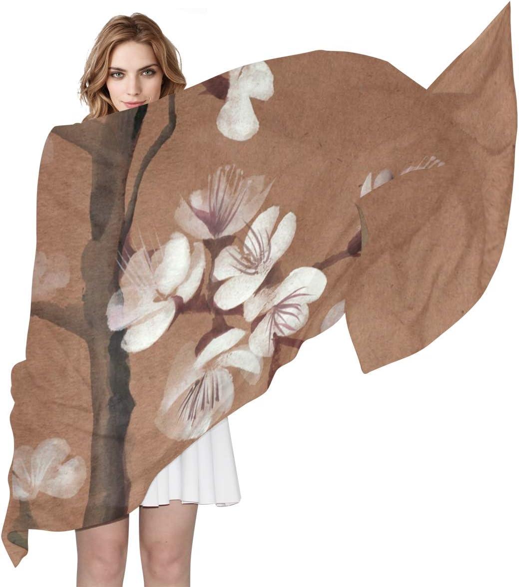 AUUXVA Fashion Scarf Abstract Floral Japanese Cherry Blossom Long Lightweight Sunscreen Scarf Shawl Wrap Muffler Neckerchief for Women Men