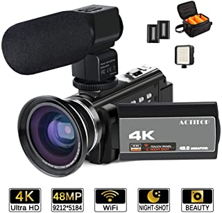 ACTITOP Videocámara 4K 48 MP Full HD 1080p WiFi IR visión Nocturna 16X Zoom Digital videocámara con micrófono Externo Lente Gran Angular luz de vídeo LED y Bolsa de cámara