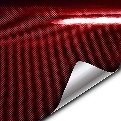 VViViD+ Kevlar Red High-Gloss Vinyl Car Wrap (1ft x 5ft) Premium Paint Replacement Film Roll with Diamond Air Release Technology, Non-Stretch Protective Cap Liner, Self Adhesive