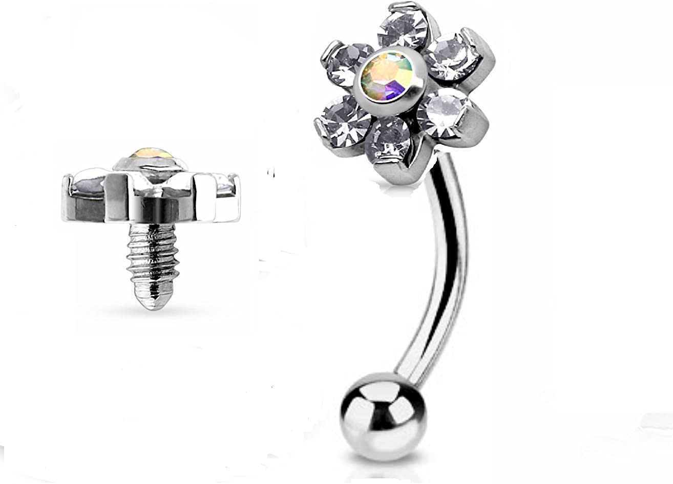 7ZACC Jeweled Twin Daisy Flowers Spinal Barbell Christina Vertical Hood VCH Jewelry Genital Piercing 1/2