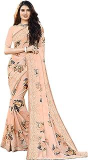 Pure Satin Digital printed Indian fancy Saree Swaroski & resham work designer Eid Sari Silk Blouse 6328