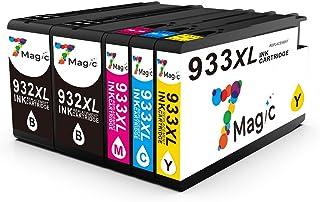 932XL 933XL Cartuchos de Tinta, 7Magic Compatible HP 932xl 933xl Ink Cartridges, High Yield, Multicpack with Black Cyan Magenta Yellow, para HP OfficeJet 6100 6600 6700 7110 7612 7610 (Paquete de 5)