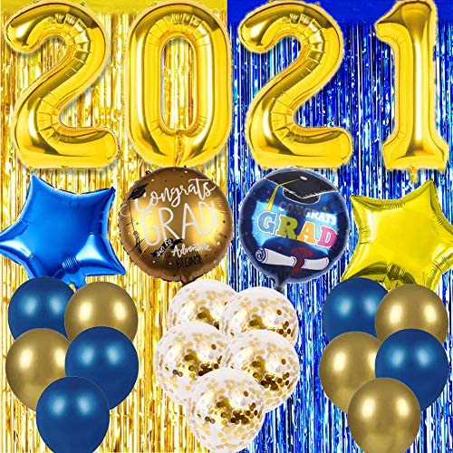 Blue Gold Graduation Party Decoration 2021 Grad Supplies Congrats Confetti Balloons Fringe Curtain product image