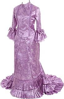 Fortunehouse Historical Civil war Victorian Bustle Gown Dress Purple Floral Dress