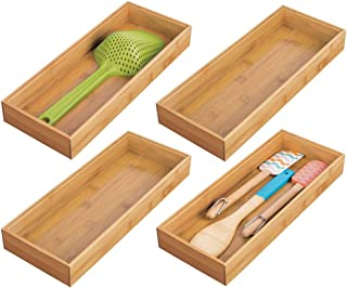 mDesign Bamboo Kitchen Cabinet Drawer Organizer Stackable Tray Bin - Eco-Friendly, Multipurpose - Use in Drawers, on Countertops, Shelves or in Pantry - 15