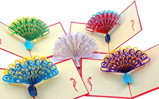 Peacock Pop Up Greeting Cards,Handmade Boxed 3D Card for All Occasion-Christmas New year,Mothers Day,Thank You,Wedding,Bridal Shower,Valentine,Business,Graduation