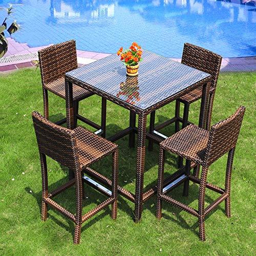 N/Z Equipo Diario Juegos de Muebles de Porche de Patio 5 Piezas Patio al Aire Libre Jardín Balcón Mostrador de Bar Silla de Mimbre Ocio Mesas y sillas de ratán para Bar