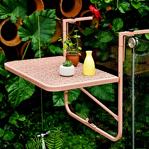 Hanging Balcony Dining Table,Metal Attachable Balcony Table,Adjustable Folding Patio Railing Side Table,Outdoor Garden Plant Furniture Floating Coffee Table Stand,60x40 cm,3 Levels,5 Colors(Pink)