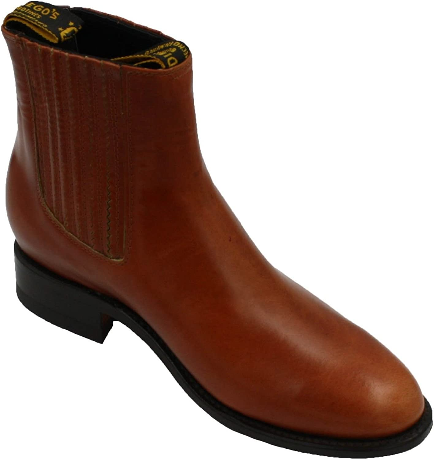 Dona Michi Mens Charro Botin Short Ankle Soft Cow Leather Boots