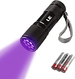 LE Small UV Blacklight Flashlight, Portable Black Light with 9 LEDs, 395nm, Ultraviolet Light Detector for Invisible Ink Pens, Dog Cat Pet Urine Stain, AAA Batteries Included