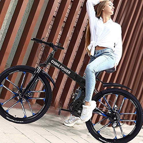 Xinqinghao 26 in Folding Bike - Outroad Mountain Bike 6 Spoke 21 Speed Wheels Dual Suspension MTB Bikes Double Disc Brake Bicycles Road Bike for Adult/Teens/Men/Women