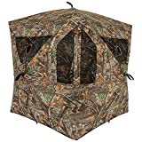 Ameristep Silent Brickhouse 3 Person Ground Hunting Concealment Blind with 10 Windows and ShadowGuard - Sets up in 2 Minutes, Mossy Oak