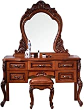 H-ei American Dressing Table, Oak Solid Wood Carved Dressing Table, Bedroom Storage Table, 130cm Bedroom Furniture, with V...