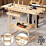 Hobelbank - 127x57,5x82,5 cm, aus Holz mit Spannzange, Schraubstock und Schublade, bis 200 kg...