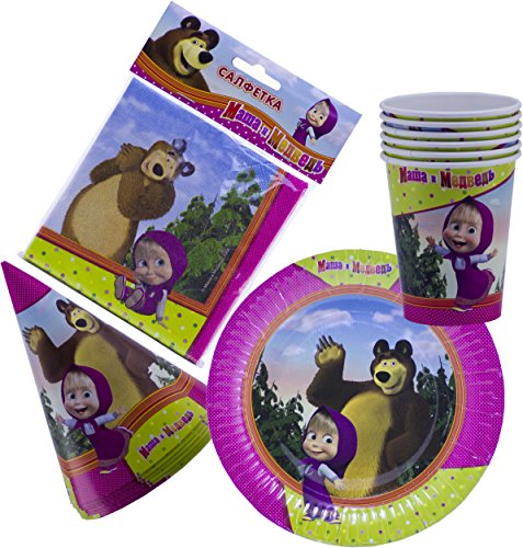 Masha and the Bear Bright Holiday Set for Children Must Have for Party Supplies and Birthday New Year's Tableware Colored Napkins Paper Plates Funny Hats Drinking Glasses Masha y el OSO