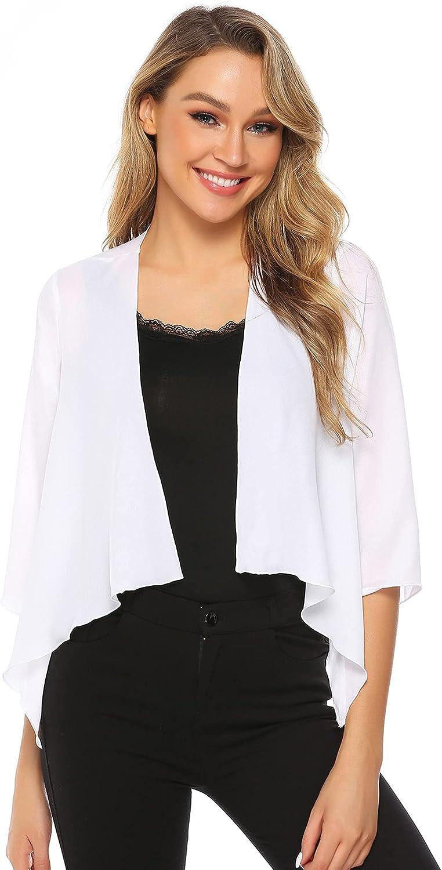 Women Casual 3/4 Sleeve Cardigan Chiffon Open Front Jacket Shrug Bolero Work Office Solid Color Blazer Fall