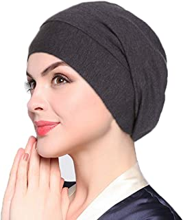 ELLEWIN Satin Lined Sleep Cap Frizzy Hair Slap Bonnet Baggy Slouchy Night Beanie Hat