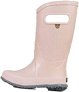 BOGS Kids Rainboots Waterproof Rubber Rain Boots for Boys and Girls, Glitter - Rose Gold, 3 M