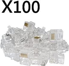 100PACK Telephone Plug 6P6C RJ12 Modular Plug (6/6, Telephone Cord Connector)
