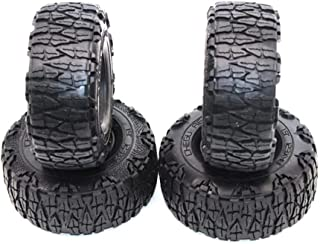 HONG YI-HAT 4Pcs 1/10 RC Crawler Tires For D90 TRX4 SCX10 AXIAL KM2 RC Car Accessories 1.9 Inch 12m スペアパーツ (Color : Black)