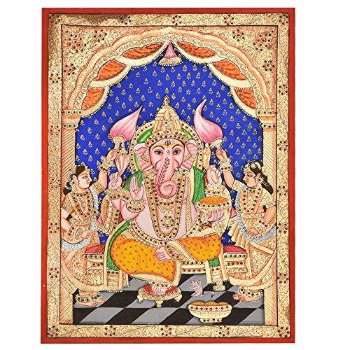 Étagère Indienne Faite à la Main Lord Ganesha avec Ses Deux Femmes Décoration Murale PT-31
