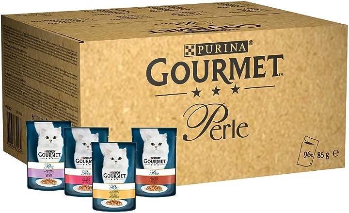 Purina gourmet perle cibo umido per gatto filettini con trota,tacchino,anatra,selvaggina,confezione da 96x85 12334925