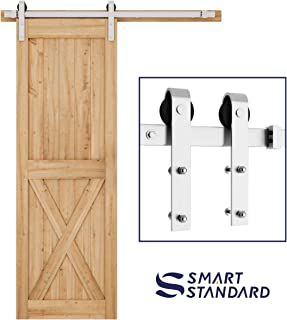 5ft Heavy Duty Sturdy Stainless Steel Sliding Barn Door Hardware Kit -Smoothly and Quietly -Easy to Install -Includes Step-by-Step Installation Instruction Fit 30