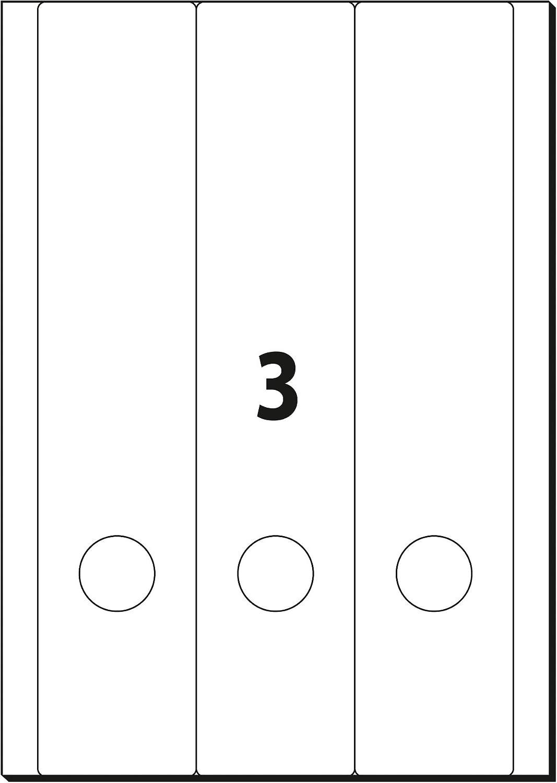 192x61 mm 100 et.=25 fg. A4 SIGEL LA430 Etichette per raccoglitori bianco per dorso largo corto coprenti