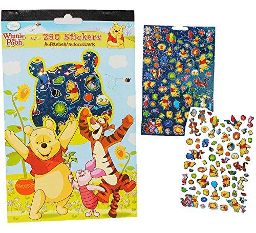 alles-meine.de GmbH 250 TLG. Set: Sticker / Aufkleber -  Disney Winnie The Pooh  - mit Glitzer & Glimmer Effekt - Kinder Kind groß z.B. für Stickeralbum - Kindersticker / Stick..