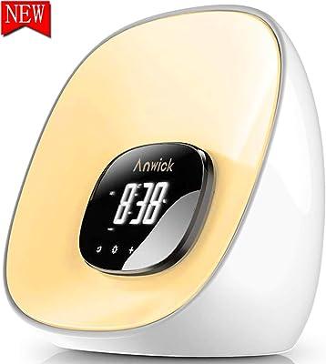 Wake Up Light Lichtwecker, LED Lichtwecker mit Sonnenaufgang Simulation, Snooze Funktion, 10 Farben, 8 Alarmtöne, FM Radio, Ideal für Haus,Geeignet für Erwachsene und Kinder