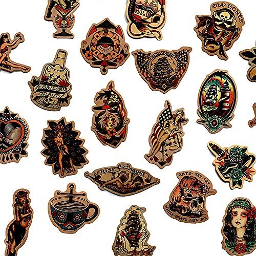 50 UNIDS Retro Vieja Escuela Etiqueta engomada del Estilo del Tatuaje refrigerador monopatíncalcomanías de la Caja de la Mochila Mesas Impermeable Etiqueta de PVC