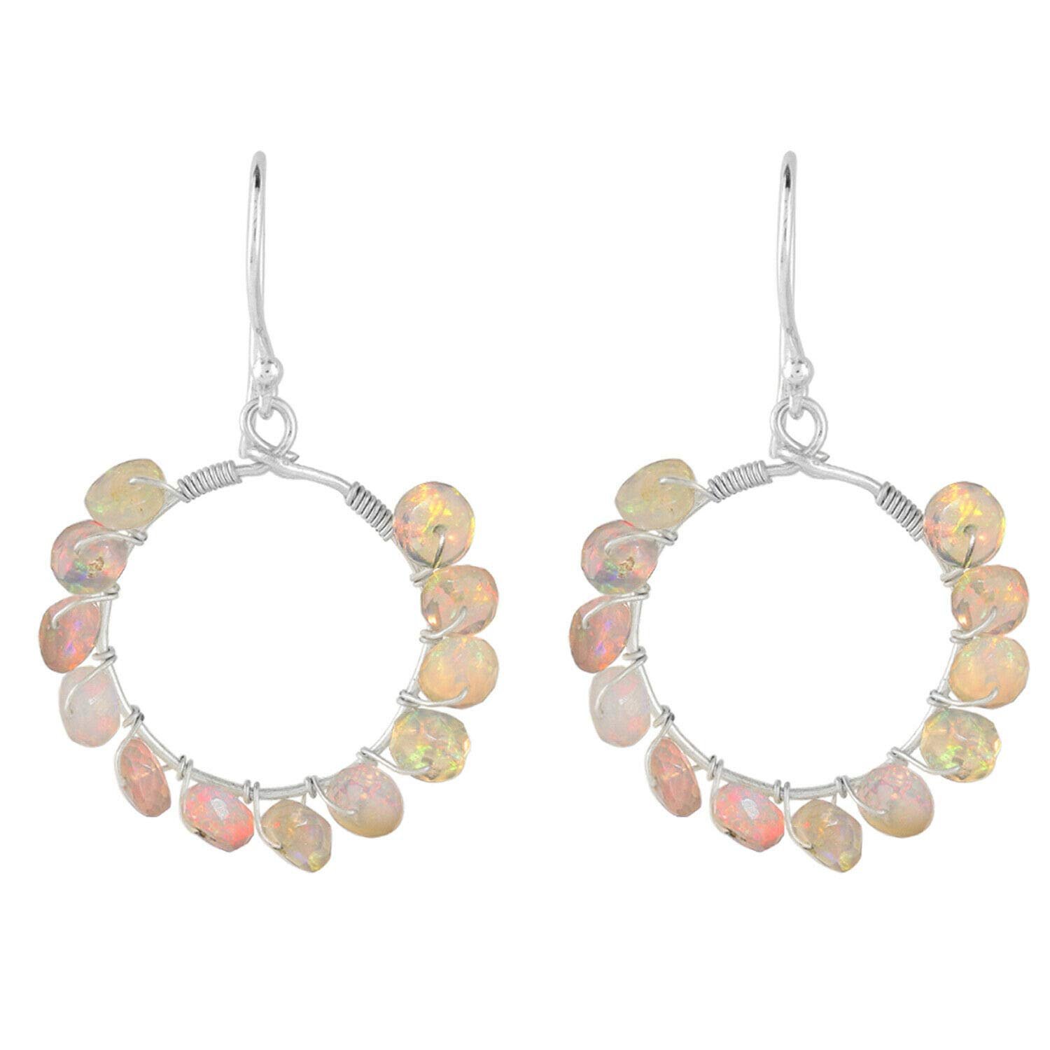 New life Omaha Mall Ethiopian Opal Crystals Hoops Earrings Sterling Silver Face 925