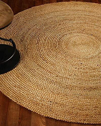 Living Craft India Teppich, rund, handgefertigt, natürliche Jute, 1,2 x 1,2 m