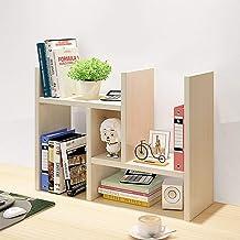 Ganeed Desktop Organizer,Office Storage Rack Adjustable Wood Display Shelf,Counter Top Bookcase,Beige