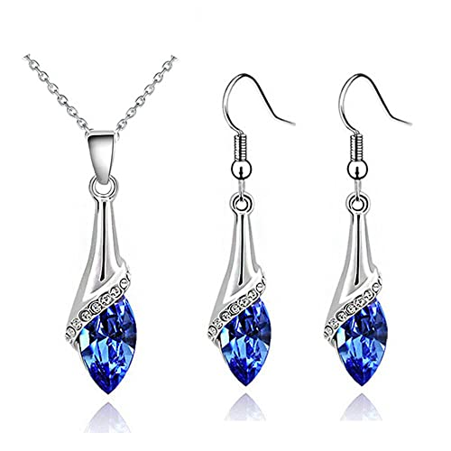 2d97eaaacb7 Klaritta Elegant Silver Dark Blue Crystal Eye Jewellery Set Drop Earrings &  Necklace S862