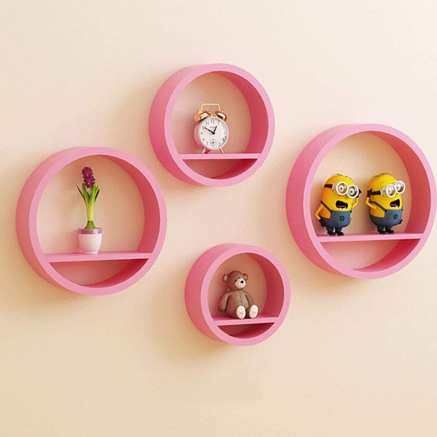A Set of Four Round Wall Shelves, Living Room Wall Dining Room Wall Hanging Shelf,Save Space,Pink