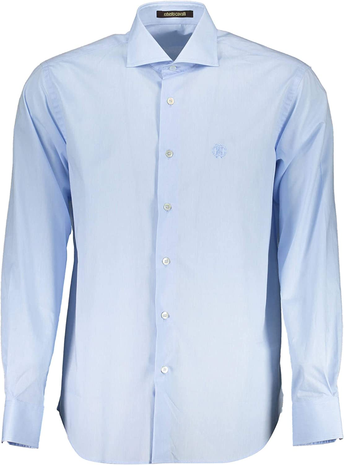 ROBERTO CAVALLI Light Blue Slim Fit 16 Dress 41 Shirt Limited Special Price Logo Recommended